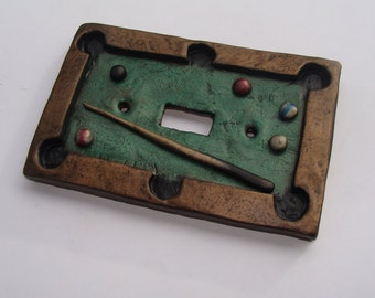 Pool Table Man Cave Light Switch Cover Polymer Clay Miniature  Lightswitch Plate