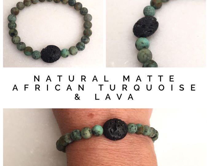 Natural matte African Turquoise and Lava rock on elastic