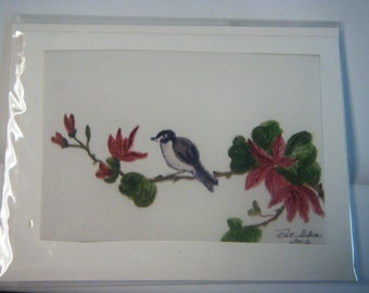 Flower and Bird Print from my original watercolor