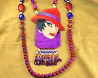 Red Hat amulet bag necklace