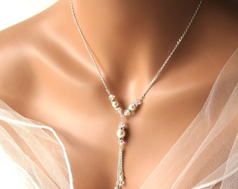Y Necklace, Bridesmaid Gifts, Pearl and Crystal, Bridesmaid Jewelry Necklace, Swarovski, Wedding Bridal Jewelry, WHITE or IVORY Pearl