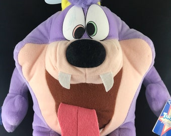 """1990 Applause Toys, Tiny Toons Adventures Dizzy Devil Plush, 17"""" from hat to toe."""