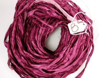 Sari Silk Ribbon, Silk Sari Ribbon, burgundy sari ribbon, tassel supply, knitting supply, weaving supply, crochet supply, ribbon yarn