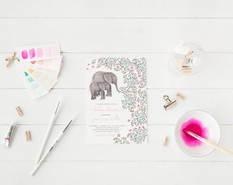 Elephant Baby Shower Floral Invitation Baby Girl Shower Invitation Floral Invitation Printable Invitation Girl Elephant Invitation Safari