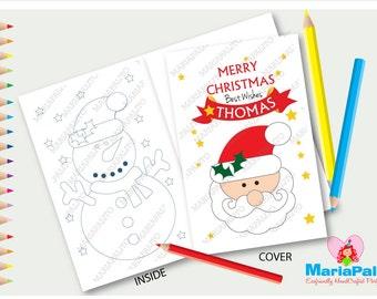 Coloring Book, Christmas Coloring books,6 Santa Merry Christmas Personalized Coloring Books Party Favors  A1082