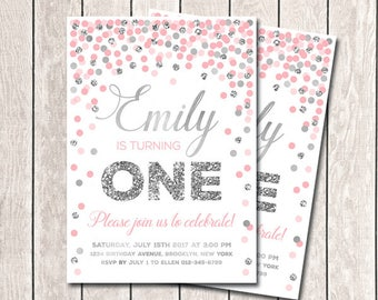 First Birthday Invitation Girl Birthday Invitation Pink Silver Confetti Invitation Printable invite Birthday Invitation Pink Invitation