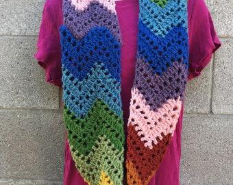 Rainbow chevron infinity scarf