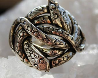 Ethnic silver man or woman shantilight entwined snake duo ring