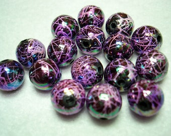Dark Orchid AB Drawbench Acrylic Round Beads (Qty 16) - B2603