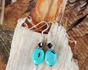 Small Turquoise and Sterling Silver Earrings, Small Oval Turquoise and Sterling Silver Earrings, Small Genuine Turquoise Earrings, Turquoise