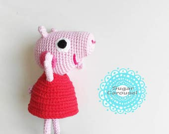 Crochet Peppa Pig - handmade cute cotton soft baby cartoon character amigurumi kids children plush toy doll animal cuddly newborn photo prop