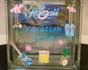 HAWAII BEACH/SEA Theme Vacation Fund Glass Block Piggy Bank (Travel Fund)