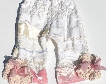 Hankie Babies vintage tablecloth and lace pants -- Sally style Made to Order Wholesale Avail