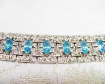 Authentic 1920s Vintage Aqua/Clear Rhinestone Bracelet - silver tone metal - wide bracelet - something blue - GATSBY wedding - FLAPPER gift