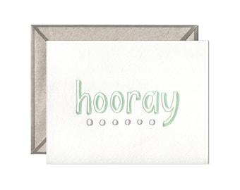 Hooray Dots letterpress card - single