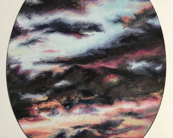 Sunset Sky. Print of Original Oil Painting. Clouds, Sky, Sunset, Sky Painting, Oval, Cloud Painting, Wall Art, Home Decor.