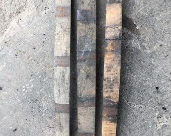 "Ten (10) Genuine Used Retired Whiskey Barrel Staves Repurposed Whisky Bourbon 3-4"" FREE SHIPPING!"