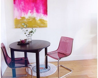 Pink and Gold Abstract - Living Room Home Decor - Large 24x40 Print - Poster - Bright - Magenta - Abstract