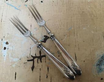 Vintage pair of pickle forks, silver plated, 1930's, marked Wellner