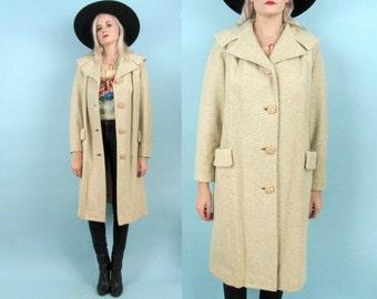 60s Long Winter Coat, Tan Tweed, Size Medium, Mod, 50s, Mad Men, Swing Coat, Formal, Holiday, Oversized, Vintage Jacket, Retro