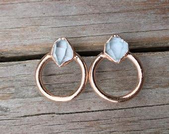 Herkimer diamond stud earrings / Herkimer earrings / NY Herkimer / April birthstone / Crystal earrings / Gift for wife / For her / Studs