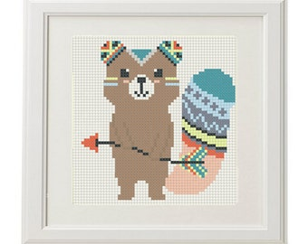 Counted cross stitch pattern baby Forest animals arrow feathers pens ethnic design Baby Cross Stitch Pattern modern Cross stitch crossstitch