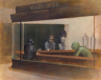 "Monster 8x10 Art Print, Dracula, Wolfman, Bride of Frankenstein, Creature from Black Lagoon Painting, Nighthawks - ""Night at Karloff's"""