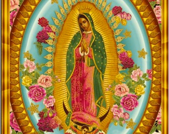 Virgin of Guadalupe fabric by Robert Kaufman Fabric ABCM-6482-195 BRIGHT by B Creative from Inner Faith