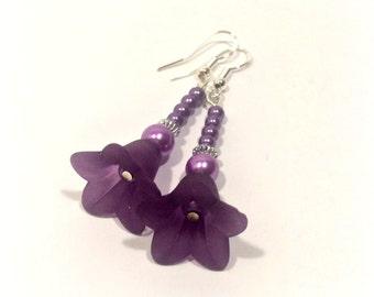 Purple Bloom Beaded Flower Earrings - Free UK Delivery