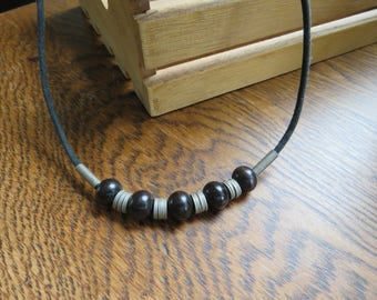 Vintage black and silver effect metal thong necklace