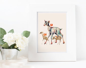 deer art print, safari animal wall decor, apartment art, deer illustration, safari animal lover, dik dik, colorful, 8x10 11x14, nursery art