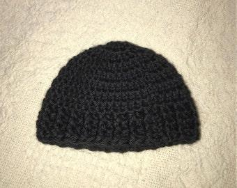 Ready to Ship-Black Premie Boy Hat, Crochet,  Baby Boy Beanie,  Photo Prop, Baby Gift
