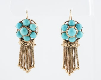 Antique Dangle Drop Earrings Victorian Cabochon Cut Turquoise in 14k Yellow Gold