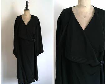 Antique Circa 1920s Maxi Black Rayon Flapper Coat / Size Medium