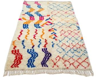 10'X5' ft / Handmade Moroccan rug Beni Ourain 100% Wool / Azilal Rug / Boucherouite Rug / Beni Ouarain / Moroccan Kilim