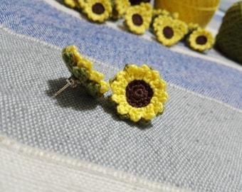 Crochet Earrings Sunflower silver cotton flower gift handmade sunflowerearrings