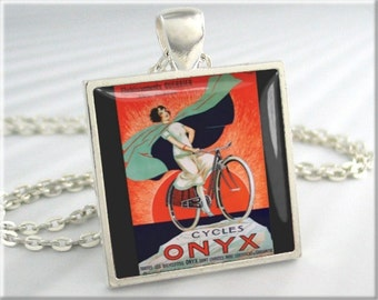 Bicycle Ad Art Pendant, Antique Bike Picture Necklace, Silver Square, Resin Charm, Gift For Bicyclist, Gift Under 20, Bike Pendant (547SS)