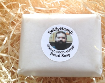 Bar soap for beards - Sandalwood Amyris - cleanses, moisturises. Natural man soap, detergent free beard itch relief soap by BaldyBeardy