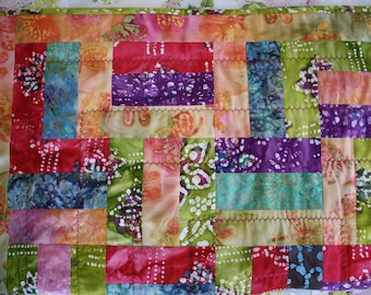 Table Runner, Quilted Square Table Runner Orange, Brown, Red, Green, Purple, Pink, and Blue