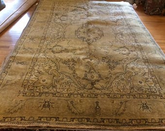 Persian rug vintage 6.7 x 10.3 washed clean hand knotted wool
