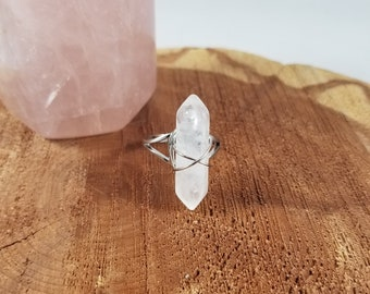 Clear Quartz Generator Point Wire Wrapped Adjustable Ring w/ Tibetan Silver Band! ~Boho, Witch, Mystic