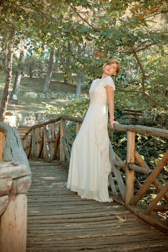 Wedding Ivory Gown Dress Gown Gown SuzannaM Dress by Wedding Chiffon Grecian Wedding Wedding Gown Designs Lace Lace Handmade Gown Long rSxtrfwqI