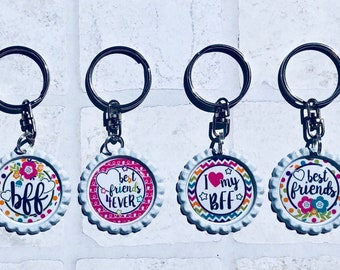Set of 2 Best Friends, BFF keychain, bottlecap, party favor