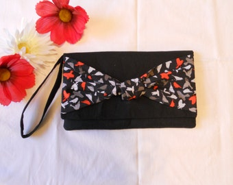 SALE - Knot Clutch - Grey and Red Birds