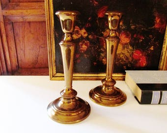 Gorham Brass Candlestick, Vintage Brass Candlesticks, Pair of Brass Candle Holders, Hollywood Regency, Coffee Table Decor