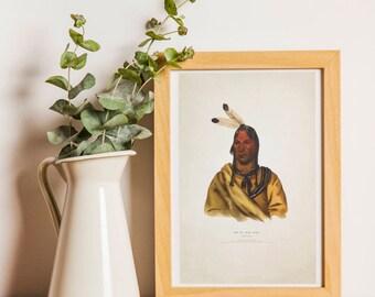 Siux- Jefe Indio - Norte America - Ilustracion Vintage  - Tribus Americanas- Decoracion - Poster - Gran Nacion
