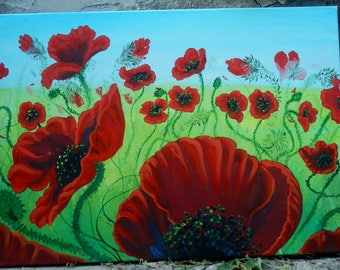 "Art Original Painting Abstract  ""  Poppies """