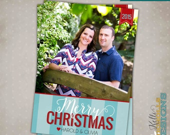 Modern Stripes Red & Teal Christmas Card