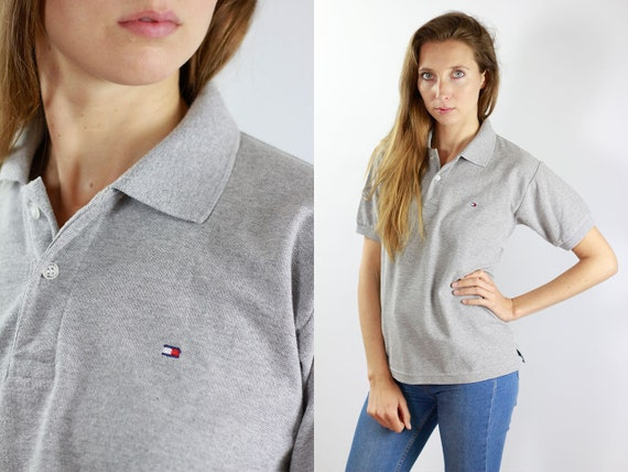 Tommy Hilfiger Top Tommy Shirt Grey Polo Shirt Tommy Hilfiger T-Shirt Grey Poloshirt Tommy Vintage T-Shirt Tommy Vintage Polo Shirt 90s Top