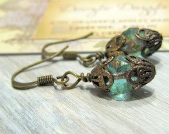 Seafoam Green Victorian Earrings - Dangle - Downton Abbey Inspired - Gemstone - Great Gatsby
